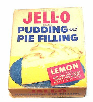 Vintage 60's Jello Lemon Pudding Pie Filling Box NOS Full w/Contents NoRskOfr
