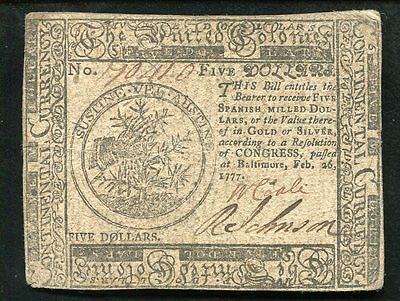 February 26, 1777 $5 Five Dollars Maryland Continental Currency