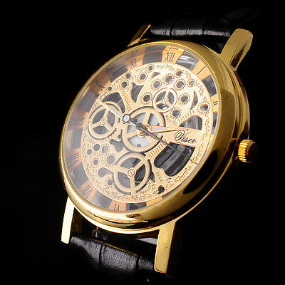 Skeleton Dial Men Womens Leather Band Stainless Steel Dial Wrist Watch