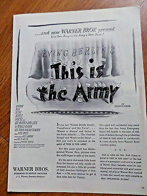 1943 Movie Ad Irving Berlin's This is The Army Ronald Reagan Joan Leslie