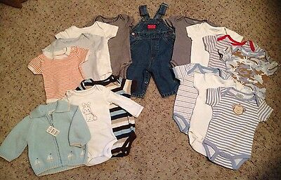 Lot Of 15 Name Brand Baby Boy Clothes, 0-6 Months - Childrens Place, Baby Guess