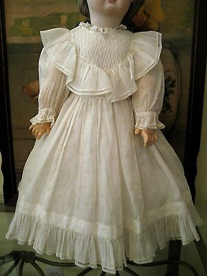 """French Antique Doll Dress Chemise Model Jumeau 28"""" Bru Steiner Museum Quality"""
