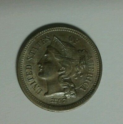 Stunning Details 1867 Copper- Nickel 3 Cents W/free Ship!