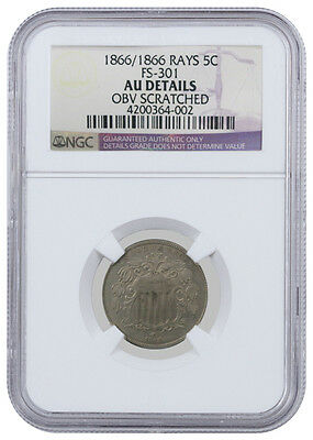 1866/1866 Rays 5C Shield Nickel FS-301 AU Details Obv Scratched - NGC Graded