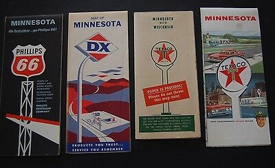 Lot of 8 Minnesota Gas Station Road Maps DX / Phillips / Texaco / Trunk Highways