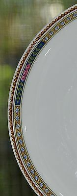"""FOUR Heinrich 5.75"""" Saucers for flat cups Pink Roses Geometric Band EUC!"""
