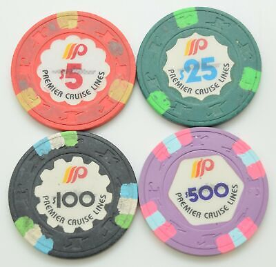 Set of 3 Premier Cruise Lines $5-$25-$100-$500 Casino Chips H&C Paulson Mold