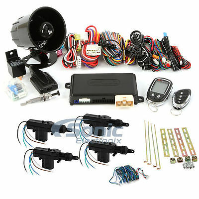 Encore E9 2-Way Keyless Entry Remote Start Car Alarm + 4-Door Power Lock Kit