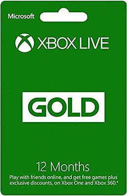 12 Month Xbox Live Gold Membership For  Xbox 360 / Xbox One Fast - Free Shipping