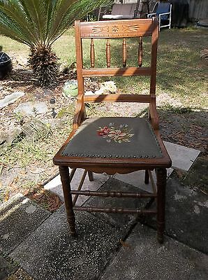 Antique Vintage Wood Chair Floral Tapestry Carved Spindle French Country