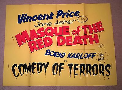 Masque Of The Red Death / Comedy Of Terrors - 1965 - Uk Quad Poster 30 X 40 .