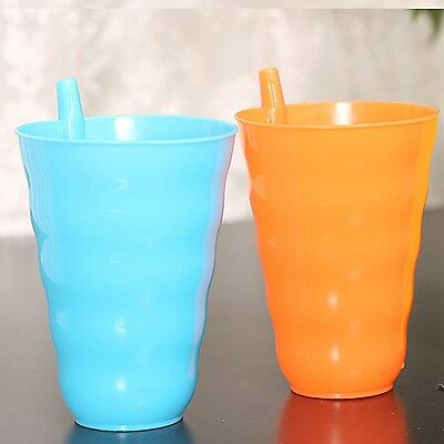 Nice 1 pc Cups for Children Infant Baby Cup with Built in Straw Mug Drink Hom...