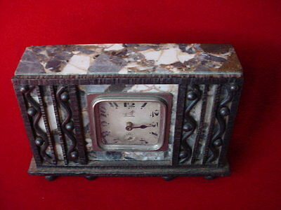 French Art Deco IRON & MARBLE MANTLE CLOCK Sgd. E. BRANDT