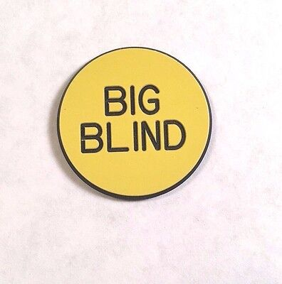 **Free Shipping Plastic BIG BLIND BUTTON – Yellow with Black Poker Casino Marker