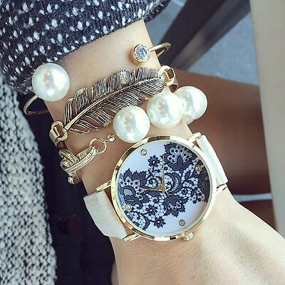 Lace Print Light Watch Women's metal Leather Bracelet Wrist Watches White/Black