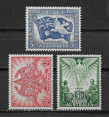 Australia , End World War Ii , 1946 , Set Of 3 Stamps , Perf , Mnh