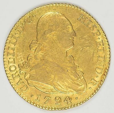1794-M MF Spain 2 Escudos Gold Coin KM#435.1 -AU Details, Some Obverse Scratches