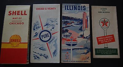 Lot of 8 Illinois Gas Station Road Maps - Shell / Pure / Texaco - Route 66