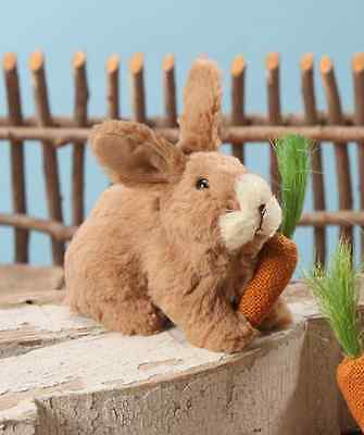 NWT Bethany Lowe Designs Furry Brown Rabbit with Carrot