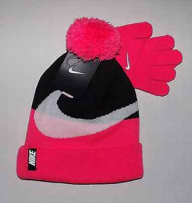 Girl's Nike Hat & Glove Set Size 7/16 Youth Winter Pink Black White Nwt