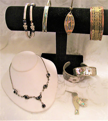 8 Piece Lot Vintage Mexican Jewelry Most With Albalone Insets Some Alpaca Silver