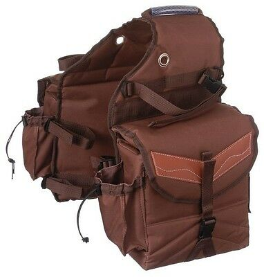 Brown w/ Leather Trim Multi-Pocket Insulated Nylon Saddle Bag Horse Tack 61-7395
