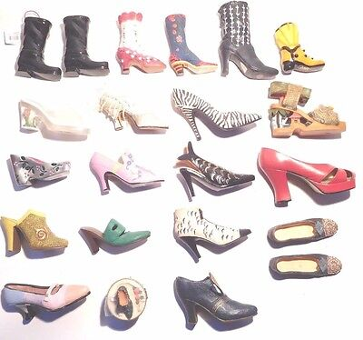Lot of 22 Collectible MINIATURE SHOES AND BOOTS * Assorted Styles