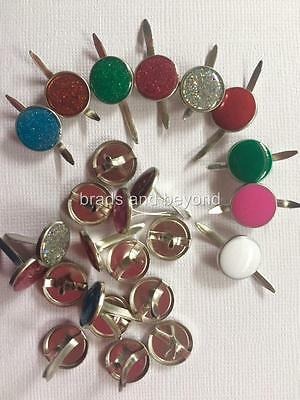 BB BRADS 12mm ROUND COLOURED AND GLITTER pk of 25 EPOXY finish split pins craft