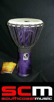 Toca Freestyle Djembe 10 Inch Purple Synthetic Lightweight - Big Sound New!