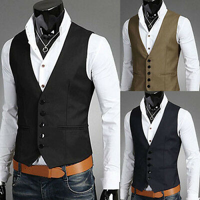 Men Casual Vest Suit Slim Fit Dress Leisure Waistcoat Tops Three Button Jacket