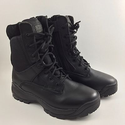 """5.11 Womens Black Tactical Boots ATAC 8"""" Side Zip Size 7.5 100709 Work Boots"""