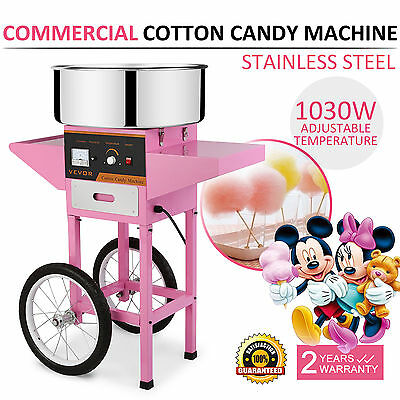 Electric Commercial Cotton Candy Machine / Floss Maker Pink Cart Stand VEVOR