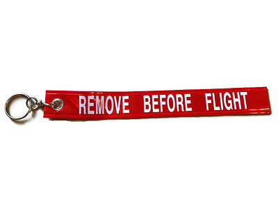 New Key Chain Ring Red Remove Before Flight Pilot Crew Luggage Tag Motorcycle