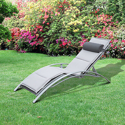 Outsunny Adjustable Patio Reclining Outdoor Chaise Lounge Chair W/ Cushion
