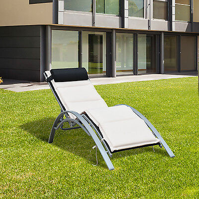 Outsunny Adjustable Patio Chaise Lounge Chair Sun Lounger Outdoor Furniture