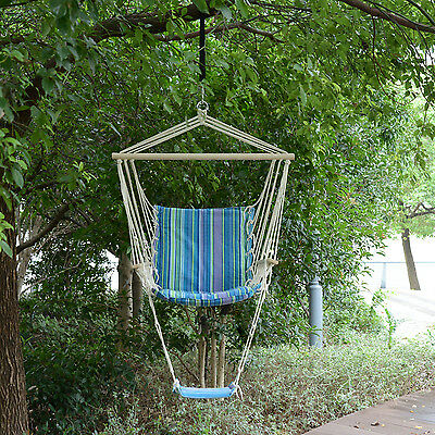 Portable Hanging Swing Chair Striped Air Hammock Sleeping Bed Seat w/ Footrest