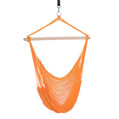 Portable Hanging Woven Hammock Seat Rope Swing Chair Nylon Sleeping Bed Orange