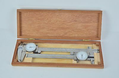 """2DIAL CALIPER Set 8"""" imperial 15cm metric STAINLESS STEEL SHOCKPROOF .001"""" INCH"""