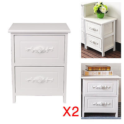 Pair Shabby Chic White Wood Rose Bedside Tables Cabinets 2 Storage Drawers Unit