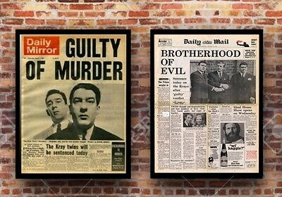 2 X Kray Twins A3 Size Newspaper Posters - Gangster Memorabilia Set C