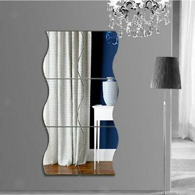 Lot 6pcs Vague Forme Miroirs Autocollant Mural Décoration Maison Chambre