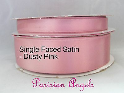"Dusty Pink  Single Faced Satin Ribbon - Various Widths   - 5/8"" - 1"""