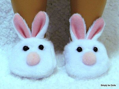 "9a3739056c3a BUNNY RABBIT Pink   White DOLL SLIPPERS Shoes fit 18"" AMERICAN GIRL Doll  Clothes"
