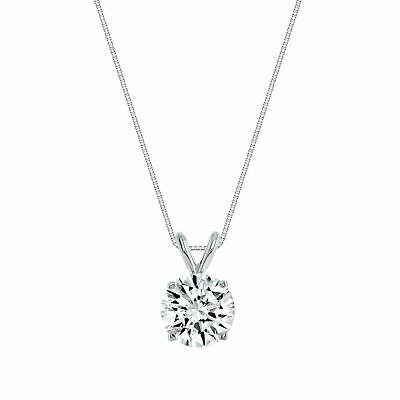 0.50ct Created Diamond Pendant 14K Solid White Gold Round Solitaire Charm 5mm