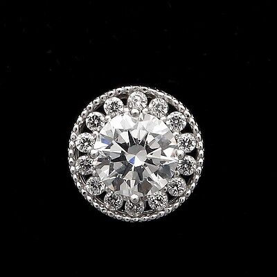 0.80CT Brilliant  Round Cut Halo Pendant Solid 14K White Gold Sliding Charm