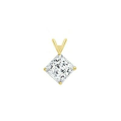 2ct. Princess Created Diamond Pendant 14K Solid Yellow Gold Solitaire Charm 7mm