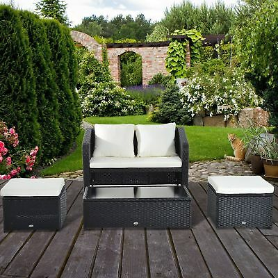 Outsunny 4pc Patio Furniture Rattan Sofa Set Outdoor Wicker Seat Chair Cushioned