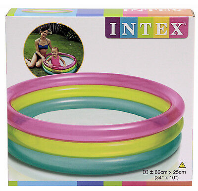 "Intex Inflatable Rainbow Kids Baby Paddling Swimming Pool 34"" x 10"""