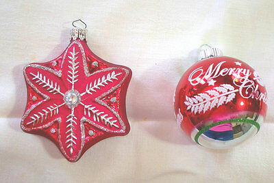2 Blown Glass Christmas Ornaments, Whimsical, Star, Free Shipping