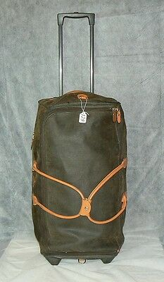 """BRIC'S MYLIFE 28"""" ROLLING DUFFLE OLIVE TABACO PVC TRAVEL LUGGAGE #129 Leather TR"""